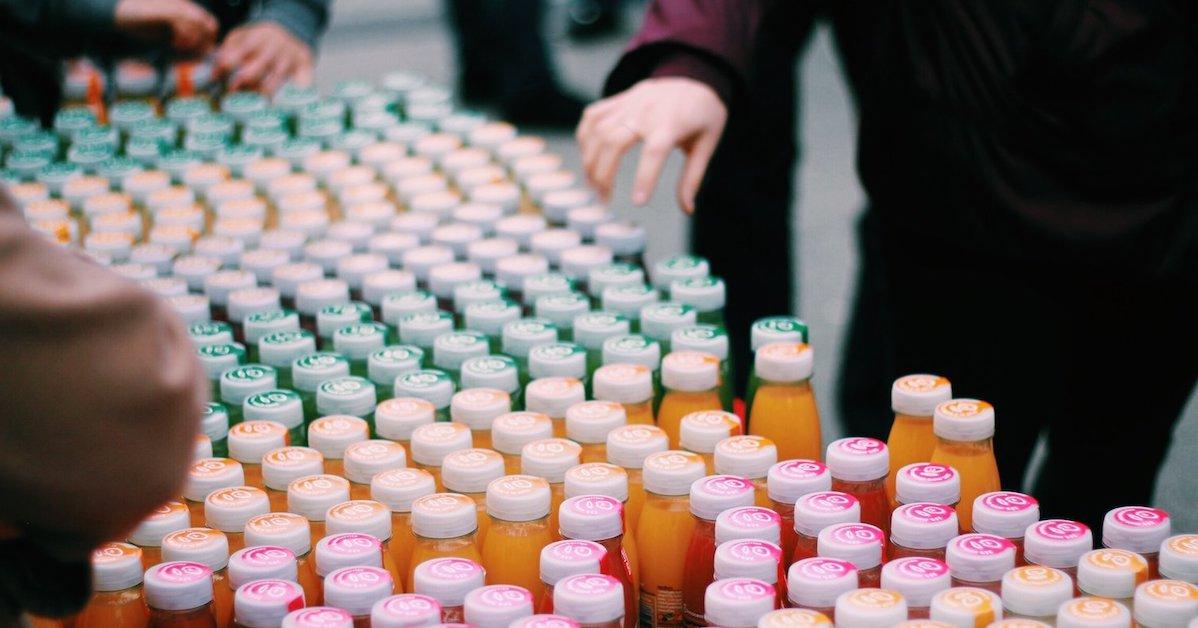 Juice Bottles in a Store