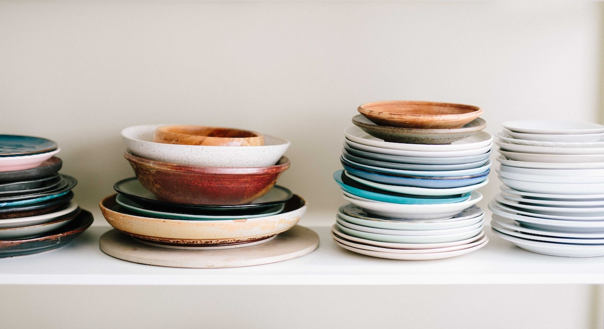 a mix of different kitchen plates