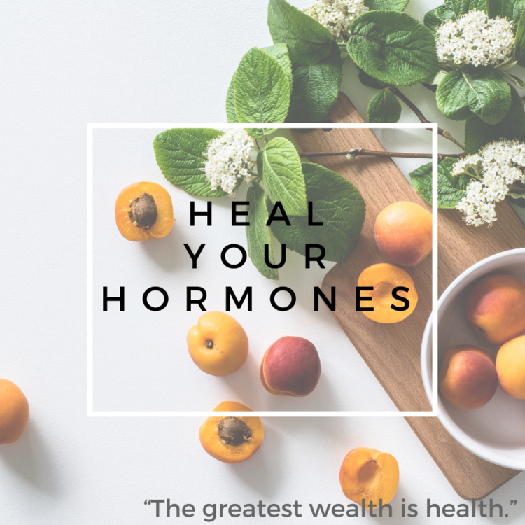 Heal Your hormones text over image of apricots