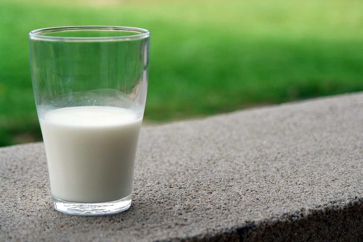 Glass half full with milk